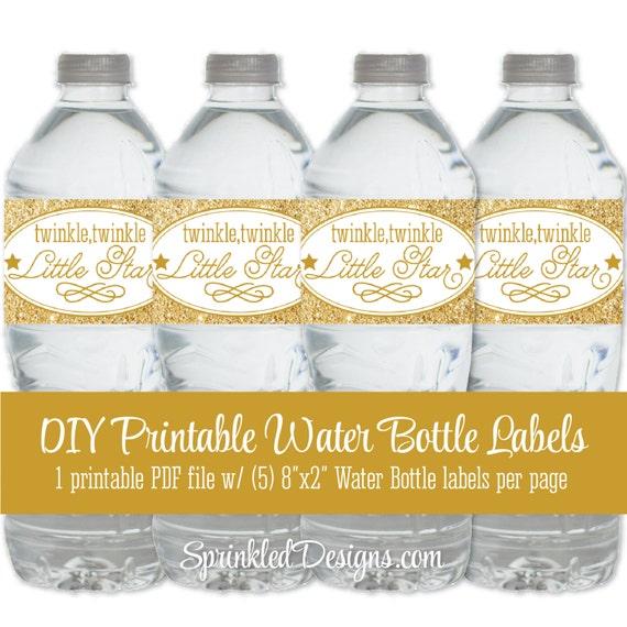 Twinkle Little Star Printable Water Bottle Labels Gold Glitter