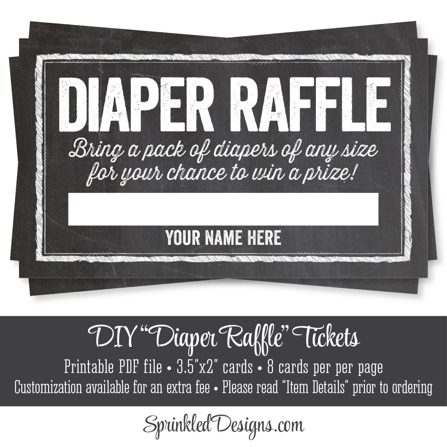 Bright image inside printable diaper raffle tickets