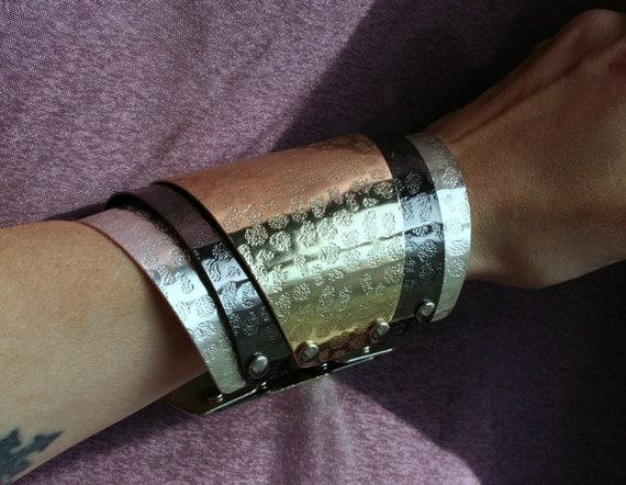 Large Cuff Bracelet Armband Wrist Armour Silver Black Gold