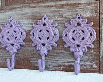 Ornate Wall Hooks, Orchid Purple Hooks, Cast Iron Towel Hooks, Key Hooks, Metal Hooks, Purple Nursery Wall Decor, Wall Hooks, Set of 3