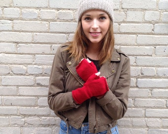 Fingerless Mittens all wool hand warmers in solid colors many colors available