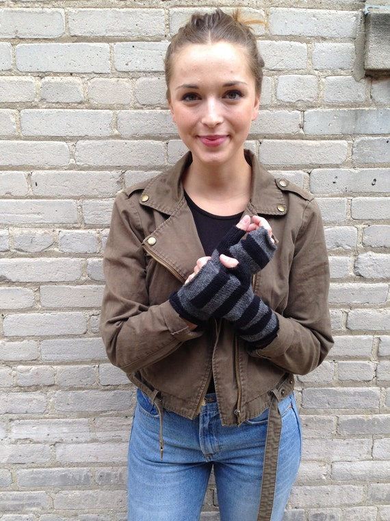 Fingerless Mittens Hand Warmers Striped in Soft Wool Black and Charcoal other color options available