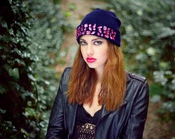 knitted hat, knitted blue hat, knitted blue beanie, knitted beanie hat, winter hat, embellished beanie, embellished knitted hat,