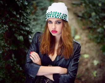 knitted hat, knitted white hat, knitted white beanie, knitted beanie hat, winter hat, embellished beanie, embellished knitted hat,
