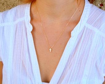 Gold dainty Cross necklace, gold cross faith necklace, gold necklace, minimalist necklace, baptism confirmation gift 452