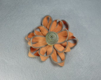 Peach Flower Pin - Upcycled - Recycled - Repurposed - Flower Brooch - Zipper Brooch - Zipper Pin - Zipper Flower - Flower Pin - Jewelry