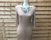 Vintage 90s Gold And Beige Ribbed Textured Knit Flared Sleeve Mermaid Dress