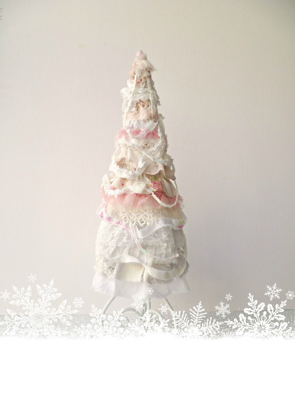 pink shabby cottage chic christmas tree lace christmas tree