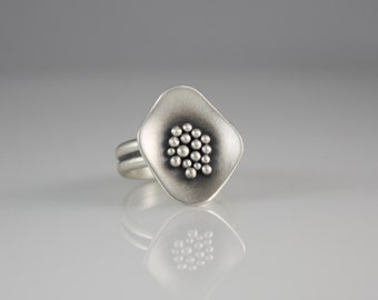 Pebble Ring, Silver Statement Ring, Bubble Ring, Abstract Ring with Granules