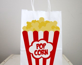 Movie Party Goody Bags, Popcorn Goody Bags, Popcorn Favor Bags, Popcorn Gift Bags