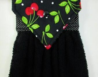Cherry Hanging Hand Towel, Cherries Hanging Towel, Cherry Kitchen Towel, Cherry Decor, Black Hanging Kitchen Towel, Cherry Kitchen Gift