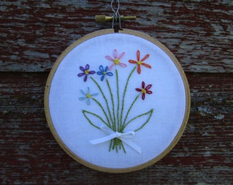 Little Bouquet Embroidery Hoop Art OOAK