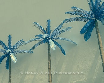 Blue Palm Trees Fine Art Photography, Beach, Summer, Vegas, Florida, Warm, Sun, Wall Art, Home Decor, Wall Decor