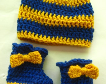 Sorority Baby shower Booties and hat,blue and gold,sigma gamma rho,theta phi alpha