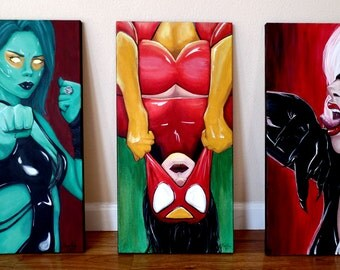 Comic Book Paintings - Marvel - Comic Book Art - Comic Book Decor - Man Cave Decor -  Comic Wall Art - Comic Art - Comic Collection