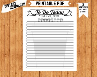 But First, Coffee - To Do List Daily List PDF Printable Organizer Page Home Binder Planner Page