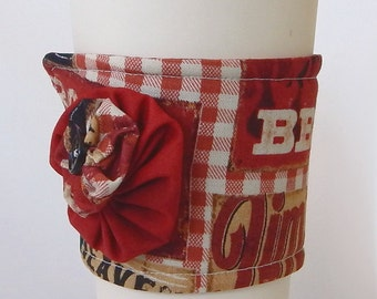 Coffee Cup Cozy / Barbecue / BBQ Cup Cozy / Drink Sleeve / Smokehouse / Cup Cozy / Re-Usable Cup Sleeve / Fabric Cup Cozy