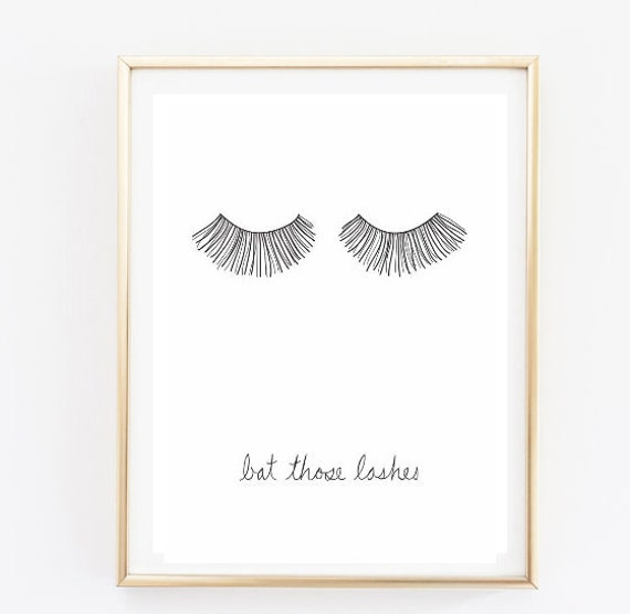 Bat those lashes makeup print typographic print quote art - Bedroom wall decor tumblr ...