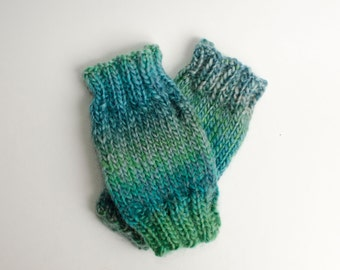 Sea Green Fingerless Mittens, Knit Fingerless Gloves Knitted Mittens Knit Mittens Knit Handwarmer Fall Accessories Wrist Warmers Hand Knit
