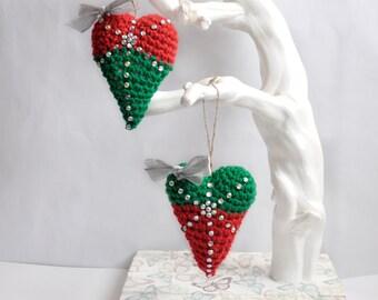Heart christmas ornament set, rustic ornaments, heart christmas decorations, heart tree ornament set, handmade christmas, country christmas