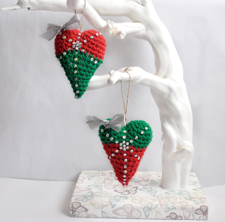Heart christmas ornament set rustic ornaments