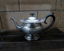 Vintage English  Gadrooned Edge,  Grape Pattern, Pedastal Teapot Barker Brothers.Silver Plate, Bakelite Handle And Knob