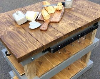 Handmade 3 tier butchers block style kitchen unit