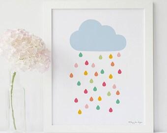 Rain Cloud Print, Rain Cloud Art Print, Cloud Artwork, Cloud Nursery Art, Cloud Wall Art, Rain Cloud Wall Prints, Rainy Cloud, Digital Art