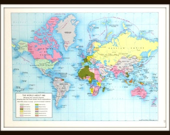 Vintage Map, The World About 1900, 12 x 9 Book Plate Art Print, Large Colorful 1960's Map, Paper Ephemera, Ready to Frame
