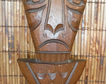 Vintage Wooden Hand Carved Tiki  - Tiki Wood Carving - Vintage Tiki Wall Wood Carving - Vintage Tiki - Made by Hand Wooden Tiki