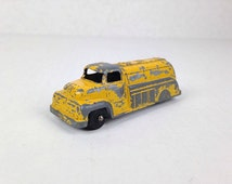 Vintage Yellow Toy Truck Vintage 1960s Yellow Toy Truck Chipped Paint Tootsie Toy Truck Old Tootsie Truck Toy