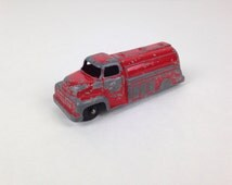 Vintage Red Toy Truck Vintage 1960s Red Toy Truck Chipped Paint Tootsie Toy Truck Old Tootsie Truck Toy Tanker