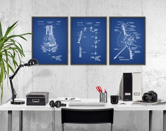 NASA Spacecraft Poster Set Of 3 - Mercury Space Capsule Patent - Voyager Spacecraft - Mercury Mission - Manned And Unmanned Spaceflight