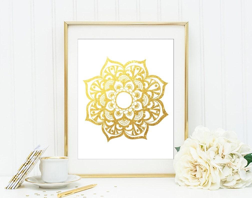 Gold Glitter Wall Decor : Mandala gold glitter wall art print esoteric by quantumprints