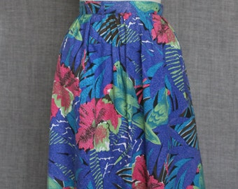 Palm Springs 1980s cotton parrot jungle print skirt