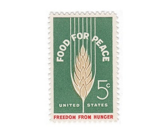 10 Unused Vintage Postage Stamps - 1963 5c Food For Peace - Item No. 1231