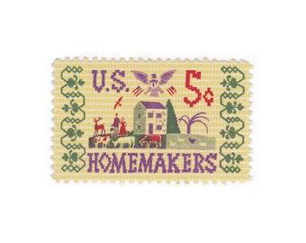 10 Unused Vintage Postage Stamps - 1964 5c Homemakers Sampler - Item No. 1253