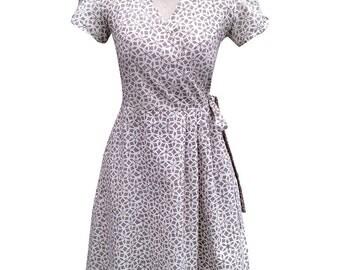 Grey Wrap Dress with Pockets: Hand Block Printed, Fair Trade