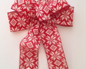 Christmas Tree Decorative Bows / Xmas Red and White Bows / Set of 6 / Xmas Vintage Decor Custom Bows / Handmade and design in wired ribbon