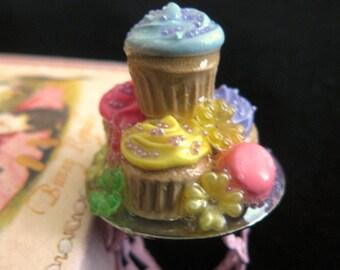 Cupcake stack plate ring macarons flowers candy miniature food kawaii