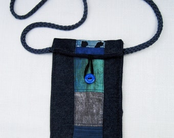 Fabric cell phone case, Blue quilted denim cell phone case, Denim Phone Case, Quilted Cellphone Case, Blue Cell Phone Case, IPhone sleeve