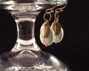 E057, Lady Bug, Autumn Leaves, Nature Lover, Wire Wrapped Dangles