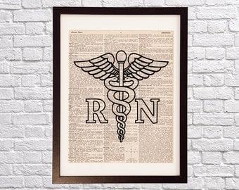 Caduceus Dictionary Art Print - Nursing Art - Print on Vintage Dictionary Paper - Doctor Gift - Medical School - Nurse Art - Caduceus