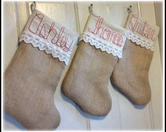 Burlap & Lace Stocking, Embroidered Stocking, Personalized Christmas Stockings, Burlap Christmas Stocking, Custom Christmas Stocking