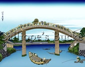 Under Mannen Bridge at Fukagawa - From the series Thirty-six Views of Mount Fuji - 冨嶽三十六景  深川万年橋下, Ukiyo-e woodblock print.