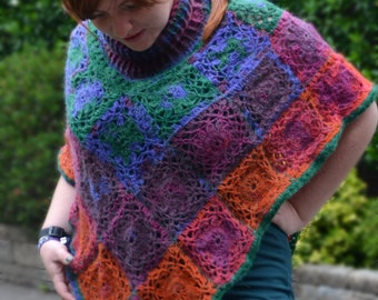 Starlight by Sunset Poncho - Finished product - Handmade Crocheted Poncho with Cowl - Ready to ship