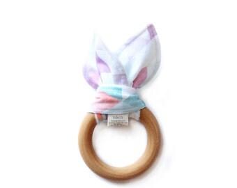 Teething Ring/ Baby Teething Ring/ Wooden Teether/ Wooden Teething Ring/ Baby Girl Teether