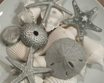 Beach Christmas Decor, Beach Wedding Decor, Silver Beach Decor, Christmas Ornament, Starfish, Shells, Nautical Decor, Beach Wedding Favors