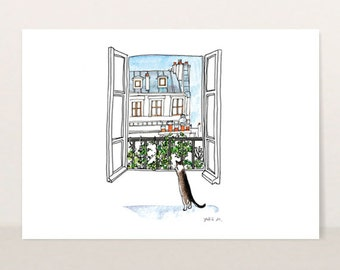Cat illustration - Fine Art Print - Frameable