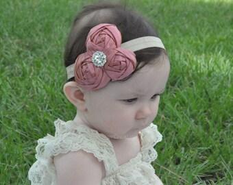Girls headbands, pink/ girls accessories/ Rolled rosette headband, Pink headband, Rhinestone , special occasion/ silk/easter headband